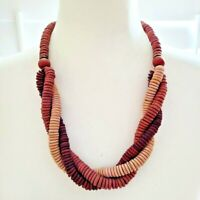 Vintage Boho Mixed Wood Disc Beaded Twist Bohemian Tribal Statement Necklace