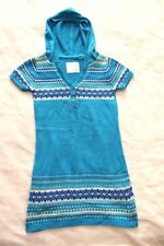 Justice Girls Sweater Dress Sz 8 Blue Turquoise Hooded Fair Isle Casual School