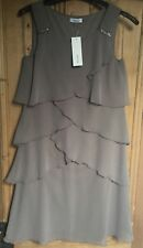 Brand New Women's C&A Yessica Mushroom Grey Layer Lined Dress Size 10