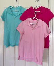New listing Oshkosh B'Gosh School Uniform Polo Shirts Set of 3 Teal, Pink & Fuschia 7 & 8