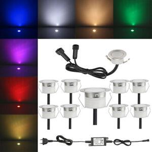 10er Set Mini LED Boden Einbaustrahler Einbauleuchte Außen Treppe Küche Spot 12V