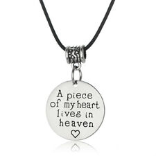 A Piece Of My Heart Lives In Heaven Necklace Pendant Charm Jewelry Gothic Gift