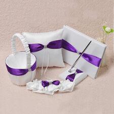 Purple & White Wedding Guest Book Pen Set Ring Pillow Flower Girl Basket Garter