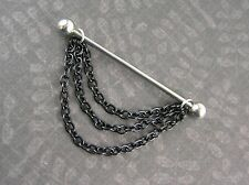 "Black Chains Industrial Barbell 14g 1-3/8"" 35mm Cartilage Earring 316L NEW"