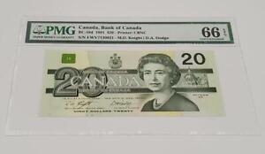 "1991 BANK OF CANADA QEII $20 ""Knight & Dodge"" (( PMG 66 EPQ ))"
