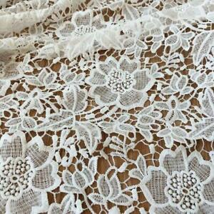 White Guipure Lace Crocheted Embroidery Floral Flowers Dress Fabric By The Yard
