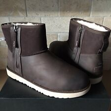 UGG Classic Mini Zip Waterproof Stout Leather Sheepskin Ankle Boots Size 10 Mens