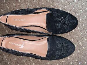 Topshop Velvet Beaded Flat Shoes Size 5