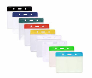 Flexible Vinyl Clear ID Card Badge Holder With Colour Top to Fit Insert 80x100mm