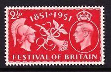 "Gran Bretaña 1951 2 1/2 D Festival con ""deforme 2 en 1/2"" SG QCOM 22b Estampillada sin montar."