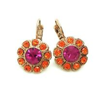 Mariana Earrings Gorgeous Flower Shape Beaded Sun & Fuchsia Crystal Swarovski...