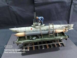 1/35 Built German Midget Submarine On A Railway Flatbed