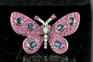 $3,947 Levian 18K White Gold Diamond Blue Sapphire Ruby Butterfly Pin Brooch