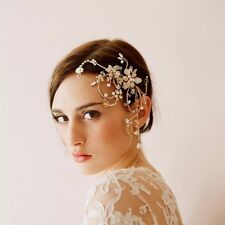 Nupcial Boda Oro Cristal Rhinestone Flores Haircomb casco Fascinator de la dos