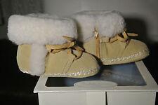 NEW! Ralph Lauren Layette Camel Suede Baby Booties Size 3 (6 - 9 Months)