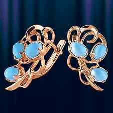 Russian solid rose gold 585 /14ct turquoise earrings NWT Beautiful
