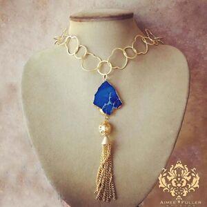 Gold Trimmed Blue Jasper Gem Tassel Pendant Necklace Brushed Chain Made in USA