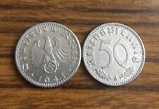 1941 German Nazi WWII 50 Reichspfennig Coin - Eagle w/ Swastika - *Rare*