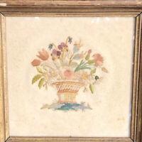 "Flower Bouquet Floral Embroidery on Paper 6.5"" Wood Frame Vtg Antique"