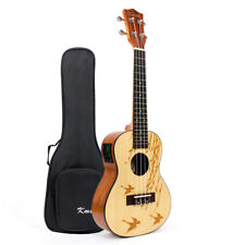 Kmise Solid Spruce Electric Acoustic Concert Ukulele Hawaii Guitar 23 Inch