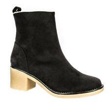 Zip Block Heel Suede Standard Width (D) Shoes for Women