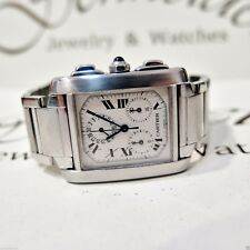 Cartier Tank 36x28 mm Francaise Chronoflex Chronograph Steel Quartz Watch 2303