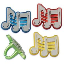 12 NEW MUSIC NOTE BAND BIRTHDAY PARTY FAVORS CUPCAKE RINGS 12