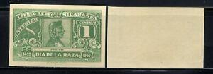 1937 Nicaragua Air Post Stamp - Scott #C215/AP11 1c Green  Imperf  MNH