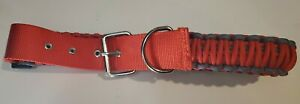 Dog Collar red and gray Paracord Adjustable Size XL Metal Buckle Wordpet