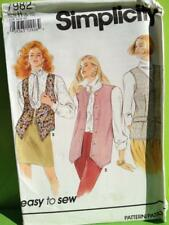 Simplicity Sewing Pattern 7982 Misses Ladies Set of Lined Vest Size 6-10 Uncut