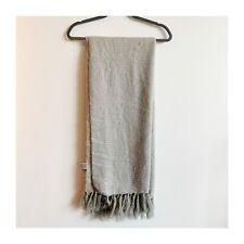 West Elm Fuzzy Cozy Throw Blanket Acrylic Light Grey Fringe Edge 44 x 56 inches