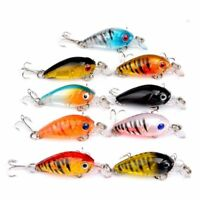 9pcs/mixed Fishing Lures Bass CrankBait Crank Bait Tackle Plastic Hooks 4.5cm UP