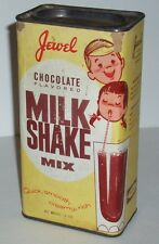 1960's JEWEL Grocery Store Chocolate Milk Shake Mix Tin Cocoa T