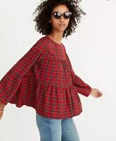 Madewell Plaid Tiered Button-Back Top XXS Red Black Swing Blouse Flared Sleeves