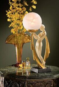 Nude Lady Table Lamp Sculpture Art Deco Figurine Statue Frosted Globe Light