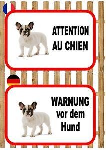 French Bulldog Beware of the Dog Sign ATTENTION AU CHIEN WARNUNG VOR DEM HUND