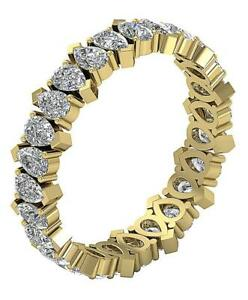 VVS1 F 1.90 Carat Pear Cut Diamond Eternity Stackable Ring Band 14K Yellow Gold
