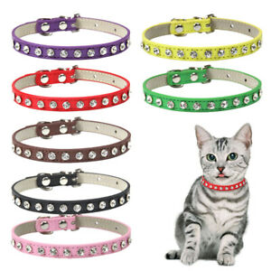 Bling Rhinestone Dog Leather Collar Small Medium Dogs Cat Small Pet Necklace