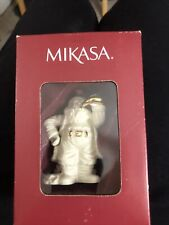 "Mikasa Christmas Harmony Santa With Horn Ornament in Box NEW 24K accent 4"""