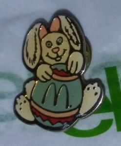 Vintage Rare McDonalds Easter Bunny Rabbit Holding EGG Retro htf Gold Arches Pin