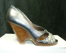 Ted Baker Ladies Silver High Heel Peep Toe Wedge Shoes Size Uk 3 Eu 36