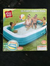 Play Day Deluxe 10 Foot Inflatable Family Swimming Pool Outdoor Rectangle