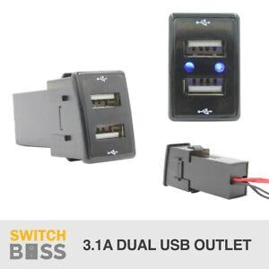 DUAL USB CHARGER - Suit ISUZU D-MAX MUX HOLDEN COLORADO Outlet LED Blue 12v 24v