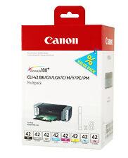 MULTIPACK 8x CARTOUCHEs CANON CLI-42 BK +C+M+Y+PC+PM+GY+LGY / noir noire pro-100
