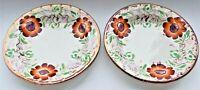 Antique Lustre Plate Set of 2 Red Flowers Pink Rim Edge 9.5cm diameter c. 1850