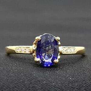 Genuine 1.00ctw Blue Sapphire & H-SI Diamond 14K Yellow Gold 925 Silver Ring
