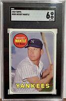 1969 Topps #500 Mickey Mantle New York Yankees YL SGC 6 EX-MT