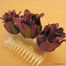 Triple Purple Dahlia Silk Flower Hair Comb,Dance,Prom,Bridal,Party,Wedding