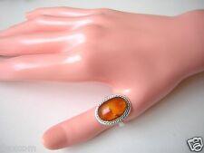 Auditado anillo de plata con miel natural Bernstein 5,3 G/RG 57 Amber