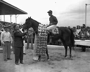 Citation - 1948 Triple Crown Winner (Jockey - Eddie Arcaro),  8x10 B&W Photo